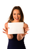 Preety assian caucasian woman holding a white card Stock Photography