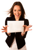 Preety assian caucasian woman holding a white card Royalty Free Stock Photos