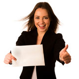Preety assian caucasian woman holding a white card Stock Photo