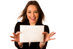 Preety assian caucasian woman holding a white card Stock Photos