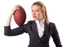 Preety biurowy pracownik z rugby piłką odizolowywającą dalej Zdjęcie Stock