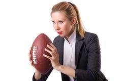 Preety biurowy pracownik z rugby piłką odizolowywającą dalej Fotografia Stock