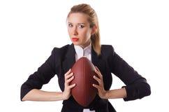Preety biurowy pracownik z rugby piłką odizolowywającą dalej Obraz Royalty Free