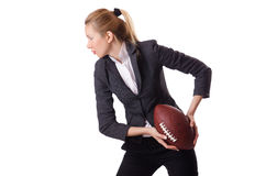 Preety biurowy pracownik z rugby piłką odizolowywającą dalej Zdjęcia Royalty Free