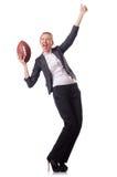 Preety biurowy pracownik z rugby piłką odizolowywającą dalej Obrazy Royalty Free