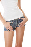 Preety female body. Preety woman's waist isolated on a white background Stock Photo