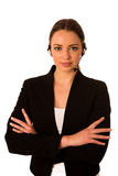 Preety happy asian caucasian business woman with headset Stock Image