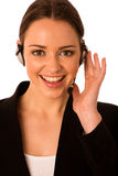 Preety happy asian caucasian business woman with headset Stock Images