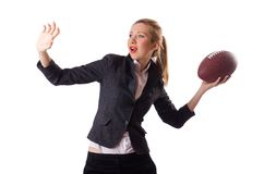 Preety office employee with rugby ball isolated on Royalty Free Stock Photo