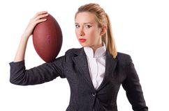 Preety office employee with rugby ball isolated on Stock Photo