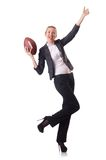 Preety office employee with rugby ball isolated on Royalty Free Stock Images