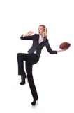 Preety office employee with rugby ball isolated on Royalty Free Stock Photography