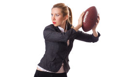 Preety office employee with rugby ball isolated on Royalty Free Stock Photos