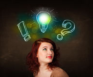 preety teenager with hand drawn light bulb illustration Stock Photography