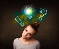 Preety teenager with hand drawn light bulb illustration Royalty Free Stock Photo