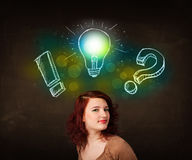 Preety teenager with hand drawn light bulb illustration Stock Image