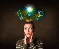 preety teenager with hand drawn light bulb illustration Stock Images