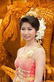 Preety woman show at thai art candle sculpture. Stock Photo