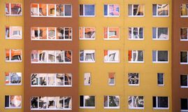 Prefab. Detail image of a lot of windows in prefab Royalty Free Stock Image