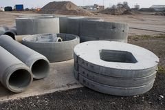 Prefab Concrete Sections. Pre fabricated concrete cyclinders and pipes Stock Photo