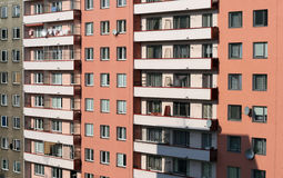 Prefab House. A block of flats in grey and pink Stock Image