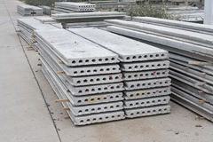 Prefab slab in construction site. Stacked prefab slab in construction site Royalty Free Stock Photo