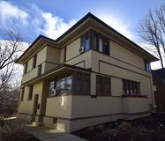 Prefabricated F. L. Wright House. This is a Winter picture of a prefabricated Frank Lloyd Wright House located in the Beverly neighborhood of Chicago, Illinois royalty free stock photography