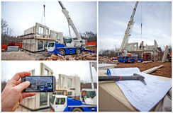Prefabricated house building Stock Image