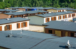 Prefabricated houses built after the earthquake that struck the town of Arquata del Tronto on August 24, 2016, in italy. Prefabricated houses built after the stock images
