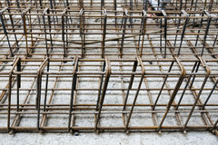 Prefabricated metal for pouring concrete at a construction site Stock Images