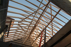 Prefabricated roof trusses on new detached house Stock Photography