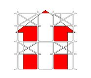 Prefabricated scaffolding. Isolated illustration.Home icon Stock Photo