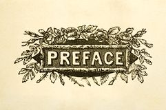 Preface title page. From 100-year old book Stock Photography