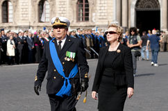 The prefect of Catania and an officer of the municipal police. During the Italian Armed Forces Day Royalty Free Stock Photo