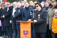 12/01/2018 - Prefeito de Timisoara que dá um discurso nas celebrações romenas do dia nacional em Timisoara, Romênia imagens de stock