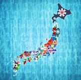 Prefektury Japan na administraci mapie obrazy royalty free