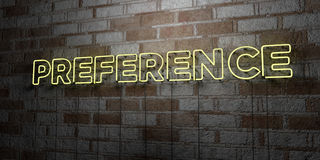 PREFERENCE - Glowing Neon Sign on stonework wall - 3D rendered royalty free stock illustration Royalty Free Stock Images