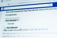 Preferencias de los anuncios de Facebook - eligiendo no permitido imagenes de archivo