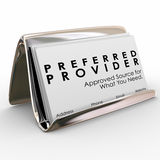 Preferred Provider Approved Vendor Business Cards Best Service. Preferred Provider words on business cards in a holder to advertise the services of an approved vector illustration