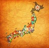 Prefetture del Giappone sulla mappa dell'amministrazione immagini stock