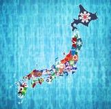 Prefetture del Giappone sulla mappa dell'amministrazione immagini stock libere da diritti