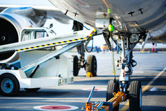 Preflight service, aircraft maintenance in the airport Royalty Free Stock Photography
