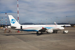Preflight service of the plane of airline Vladivostok Air Stock Photos