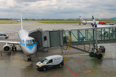 Preflight service of the plane in Warsaw Chopin Airport, Poland Royalty Free Stock Photo