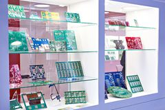 Electronic circuit boards in store. Preform for electronic circuit boards in the storefront royalty free stock image