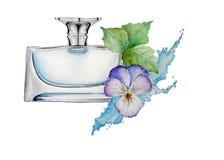 Prefume con la flor y agua Imagen de archivo