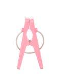 Pregador de roupa cor-de-rosa isolado no branco Foto de Stock