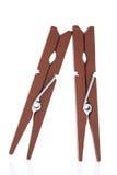 Pregadores de roupa de madeira Imagem de Stock