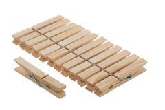 Pregadores de roupa de madeira Imagens de Stock