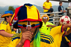 Pregame Celebrations. People getting ready for an international soccer game in Bogotá, Colombia Stock Image